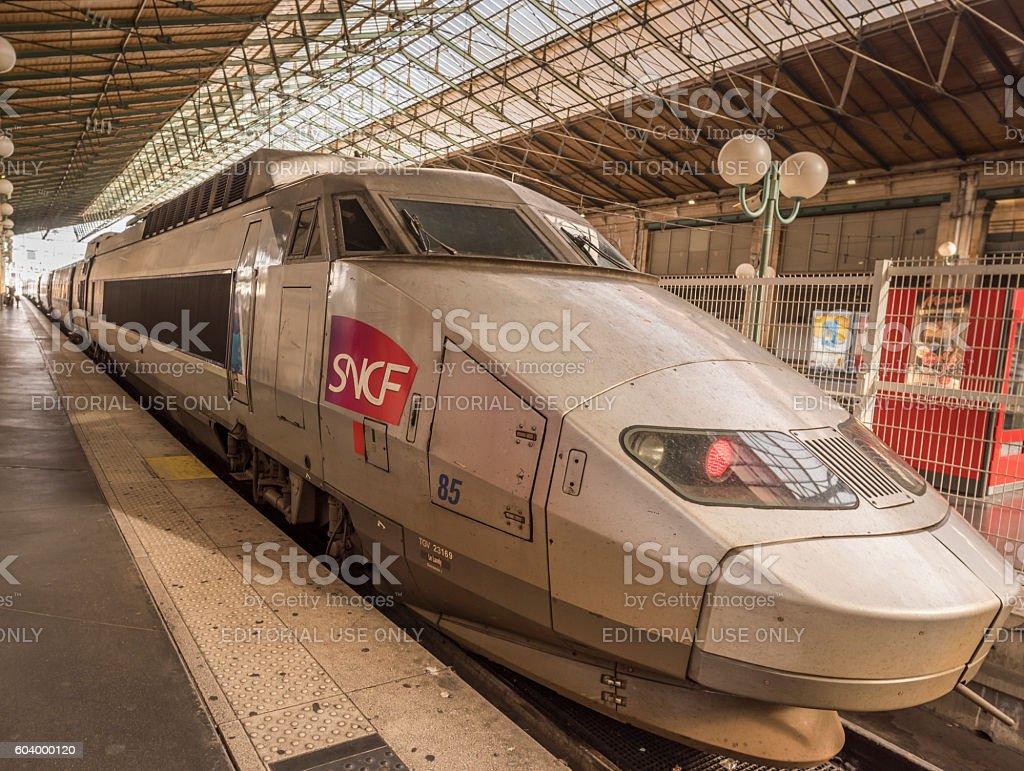High speed train in Paris Gare du Nord stock photo