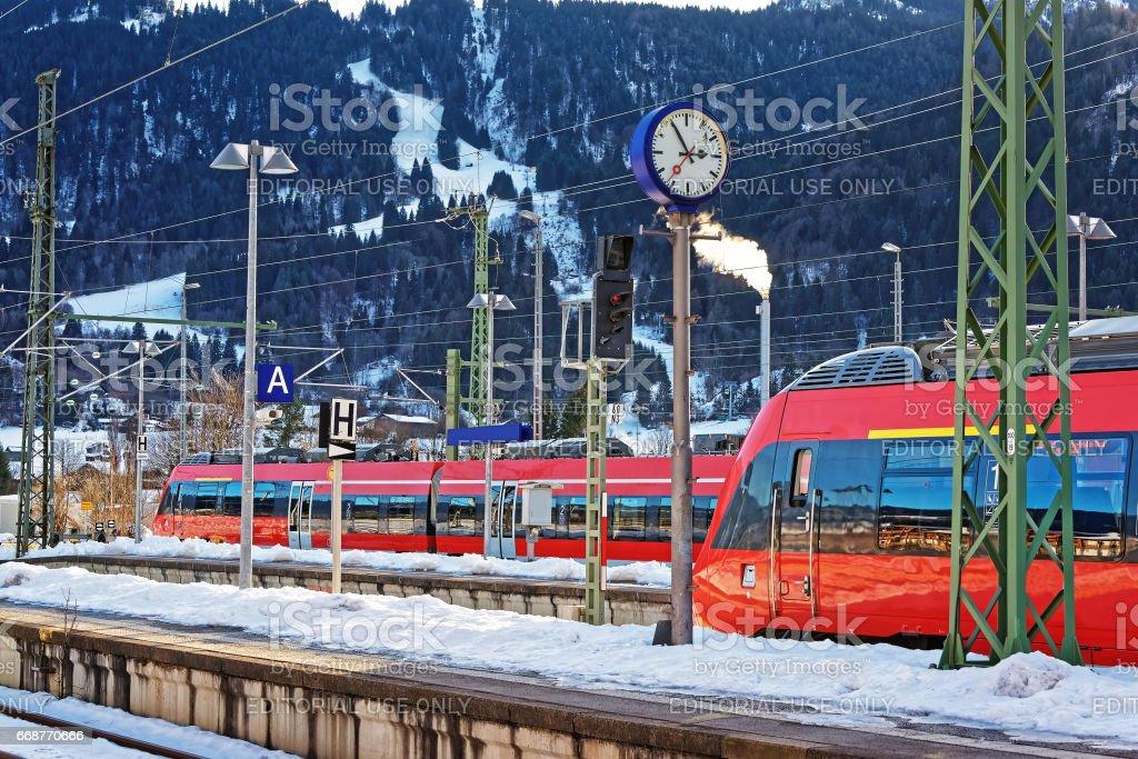 High speed trains at Garmisch Partenkirchen stock photo