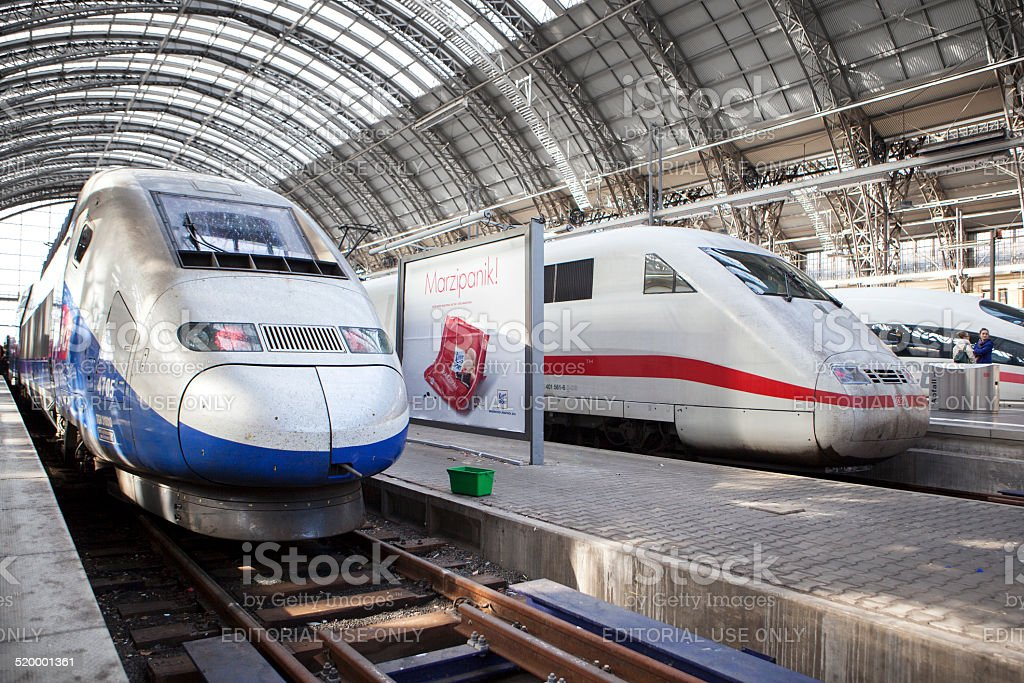 High speed trains, ICE and TGV stock photo