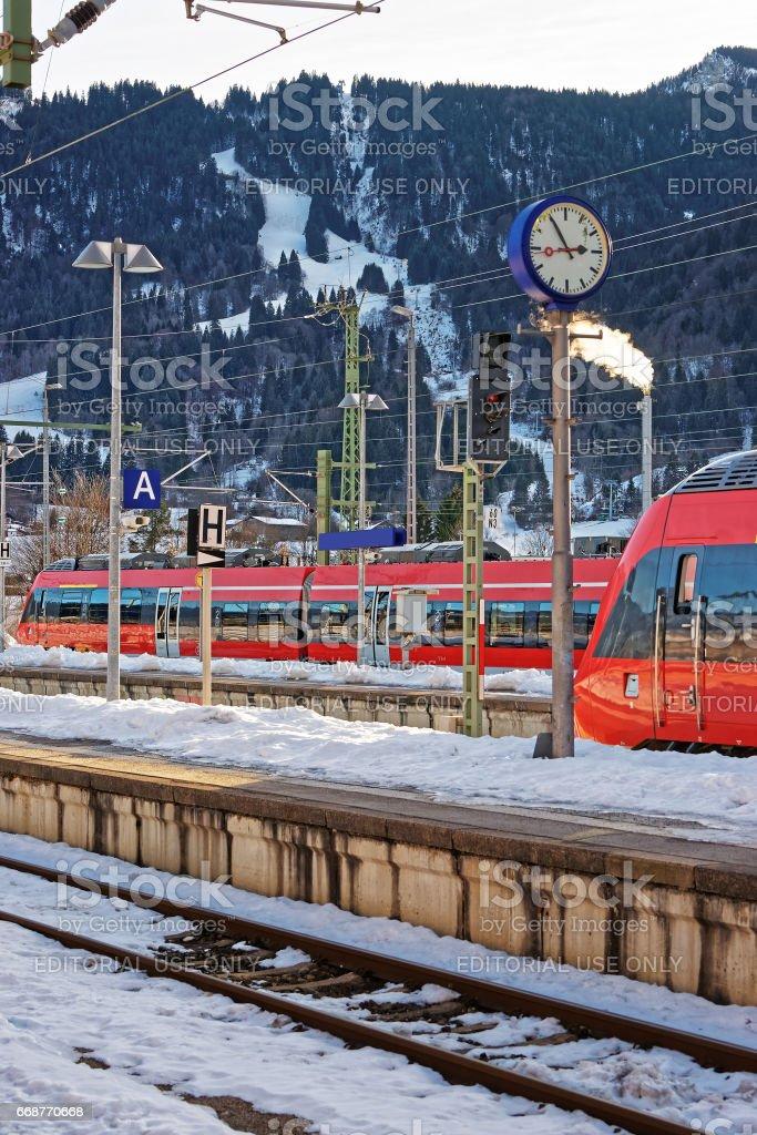 High speed trains in Garmisch Partenkirchen stock photo
