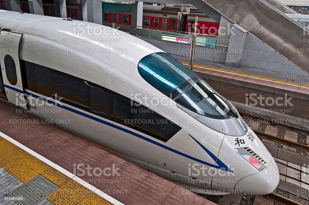 High Speed Trains in Suzhou Railway Station China royalty-free stock photo