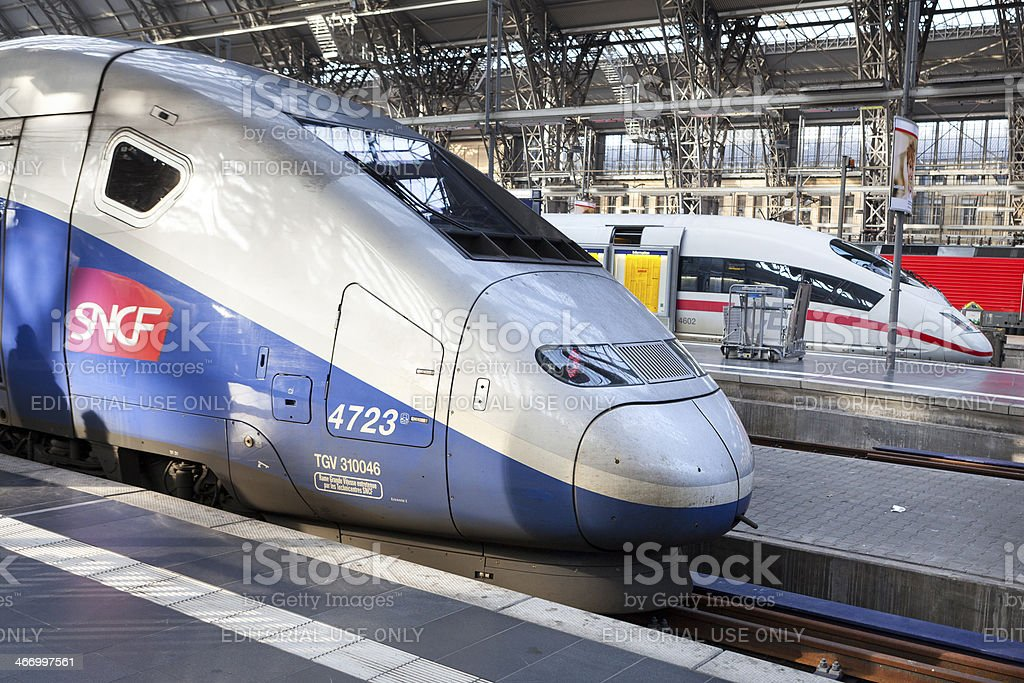 High speed trains. TGV and ICE stock photo