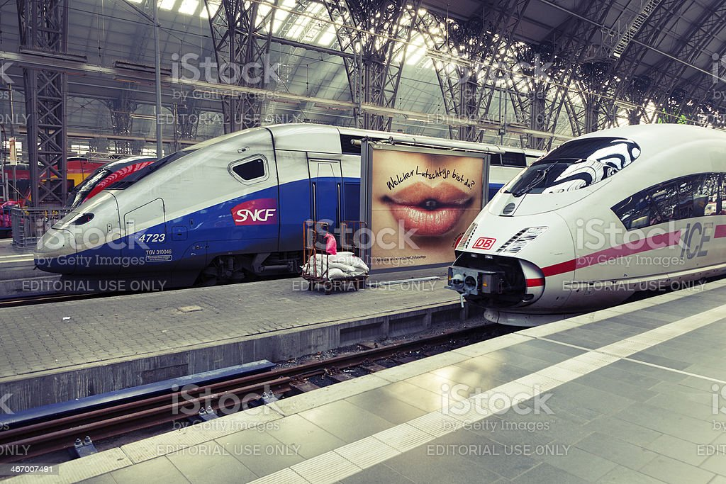 High speed trains. TGV and ICE royalty-free stock photo