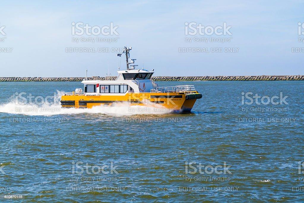 High speed windcat workboat, Netherlands stock photo
