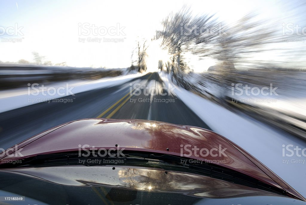 High speed winter driving royalty-free stock photo