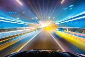 high speed with blur light