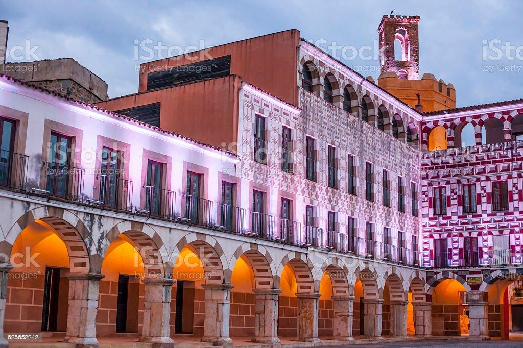 High square at sunset illuminated by led lights, Badajoz stock photo