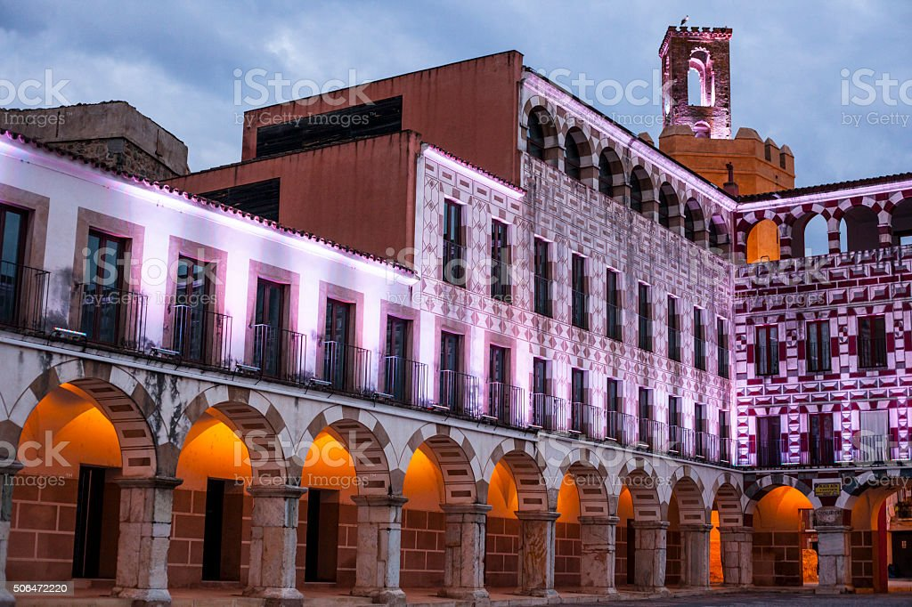 High Square of Badajoz at twilight, Spain stock photo