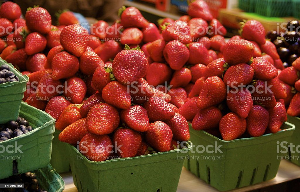 High Stack of Strawberries At Famer's Market stock photo