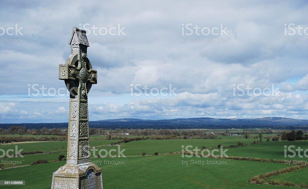 High stone cross at Rock of Cashel, Ireland stock photo