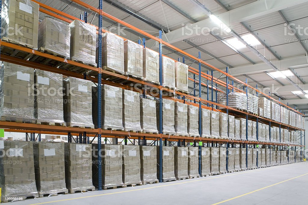 High storage rack warehouse with pallets royalty-free stock photo