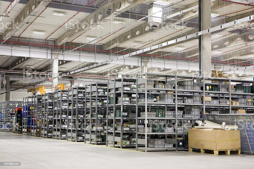 High storage racks in large warehouse stock photo