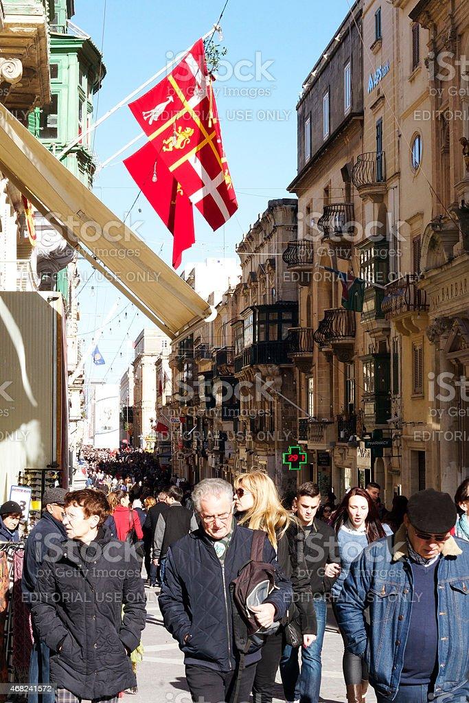 High Street nella Valletta foto stock royalty-free