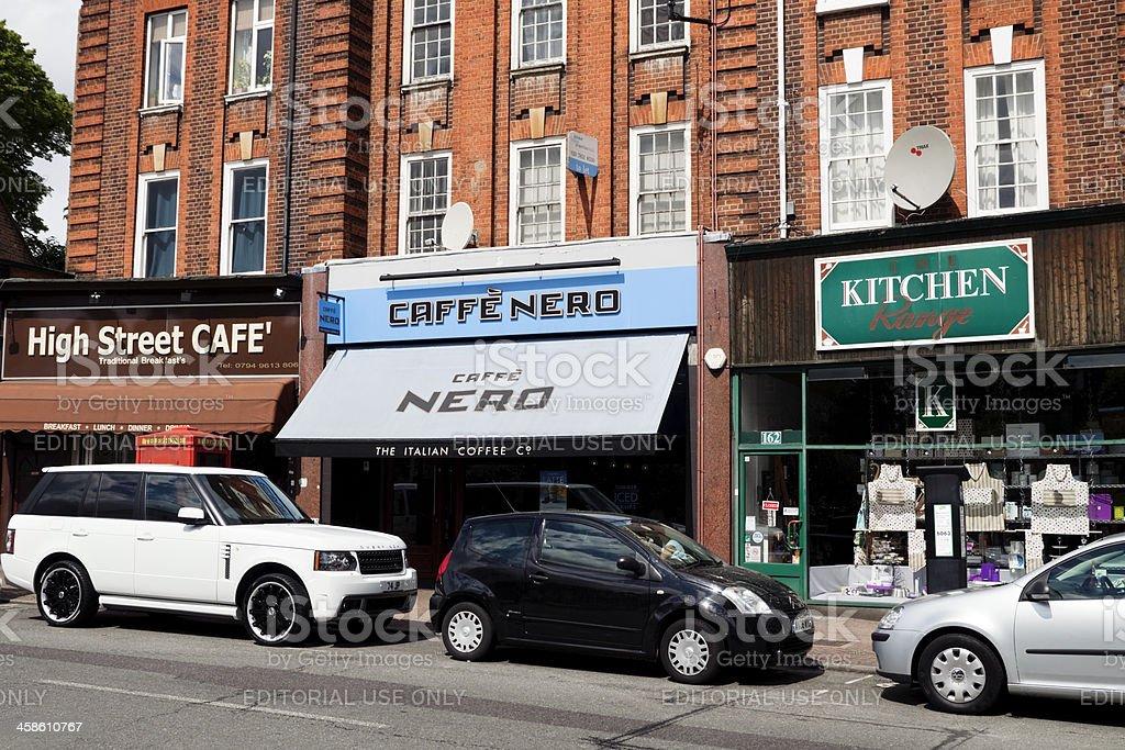 High Street shops stock photo
