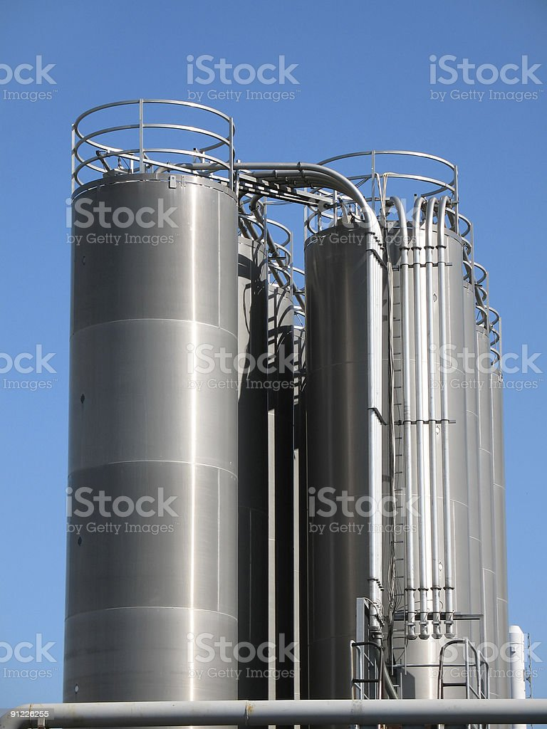 High tanks of silvery color royalty-free stock photo
