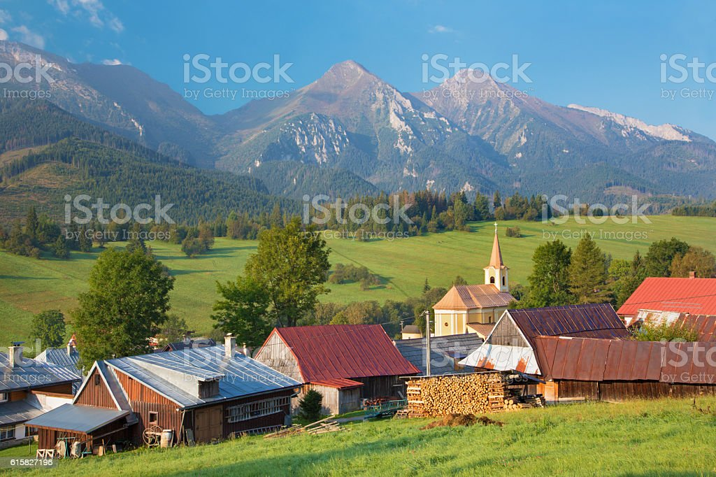 High Tatras - Belianske Tatry mountains and Zdiar village. stock photo