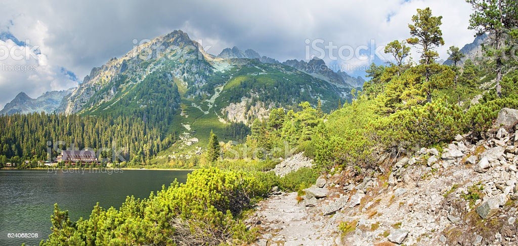 High Tatras - Panorama of Popradske Pleso lake and Chalet stock photo