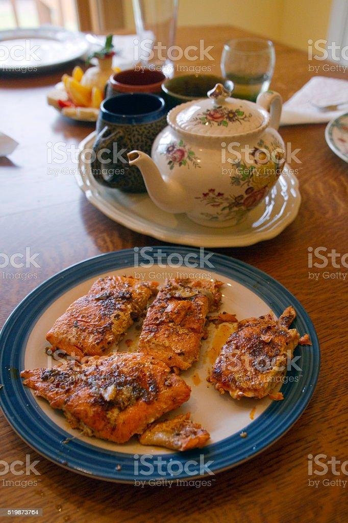 High Tea with Fresh Fruit and Salmon stock photo