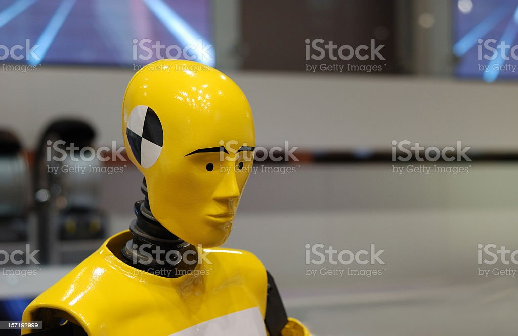 High tech crash test dummy ready for testing  stock photo