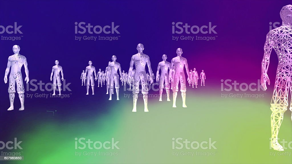 High Tech Humanoids in a Digital Environment stock photo