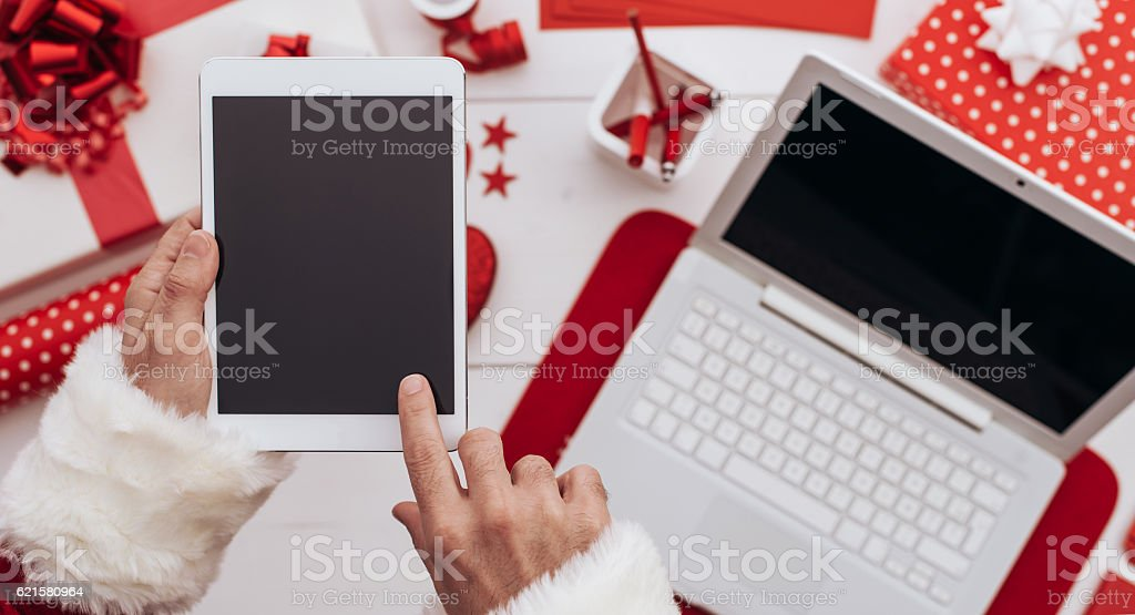 High tech Santa stock photo