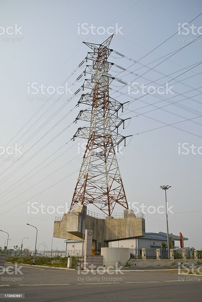 High Tension Electricity Tower on Platform royalty-free stock photo