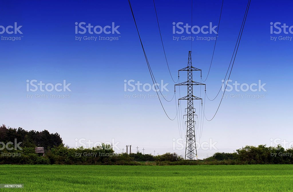 High tension line technology in the nature stock photo