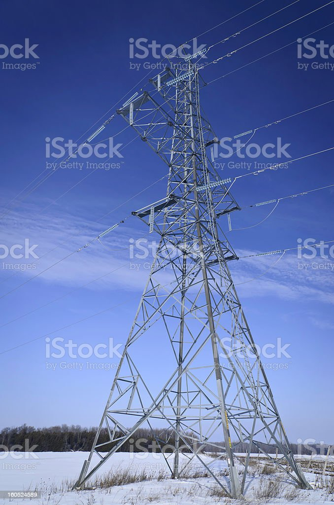 High tension power line tower royalty-free stock photo