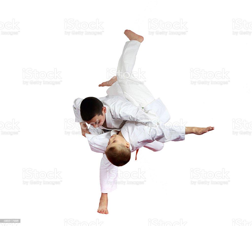 High throw judo are doing athletes  on a white background stock photo