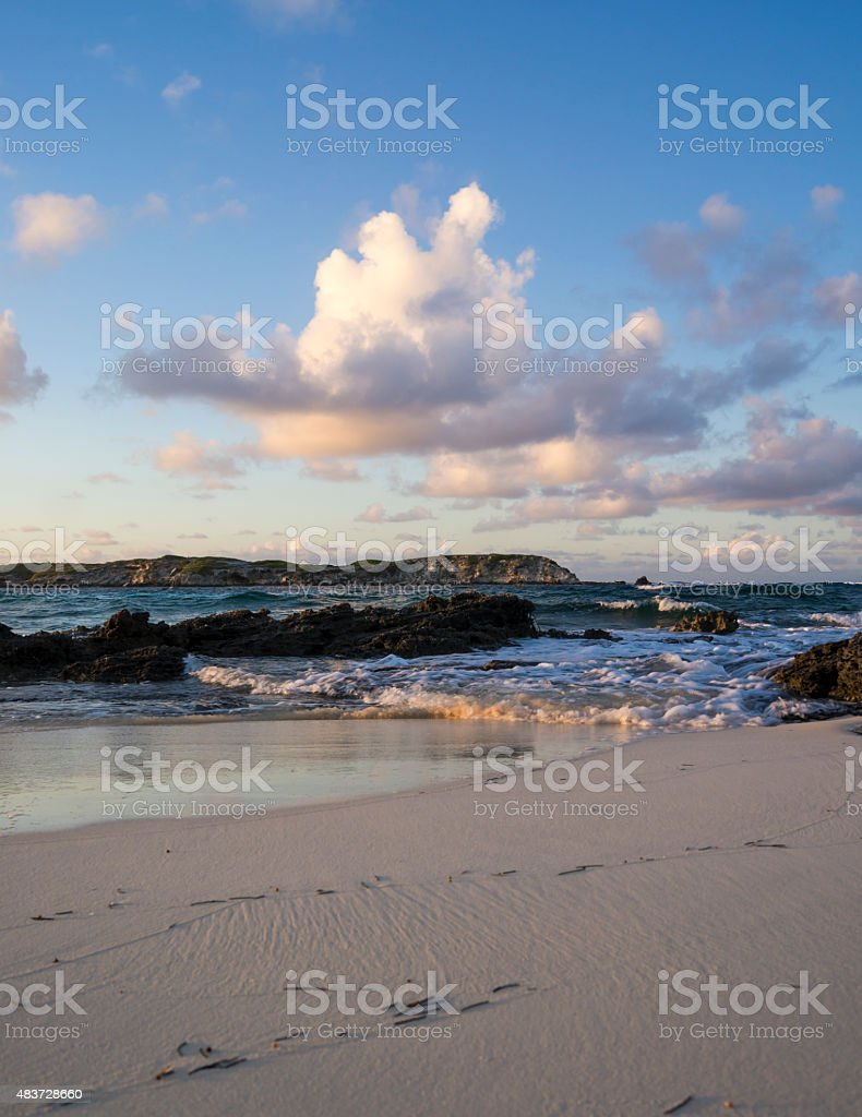 high tide at sunset stock photo