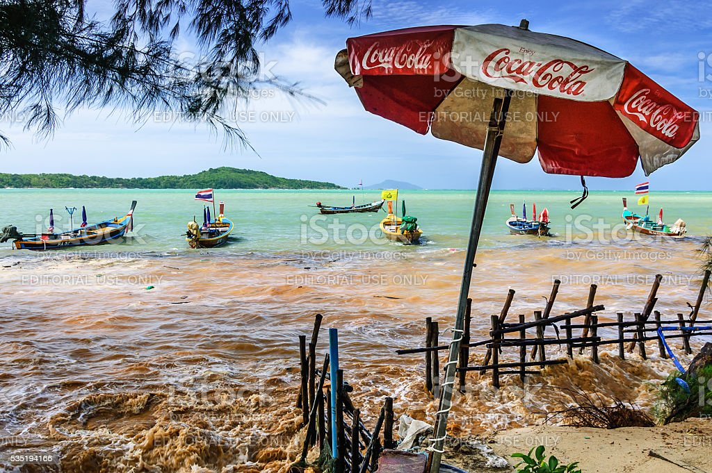 High tide flooding, Rawai beach, Phuket, Thailand stock photo