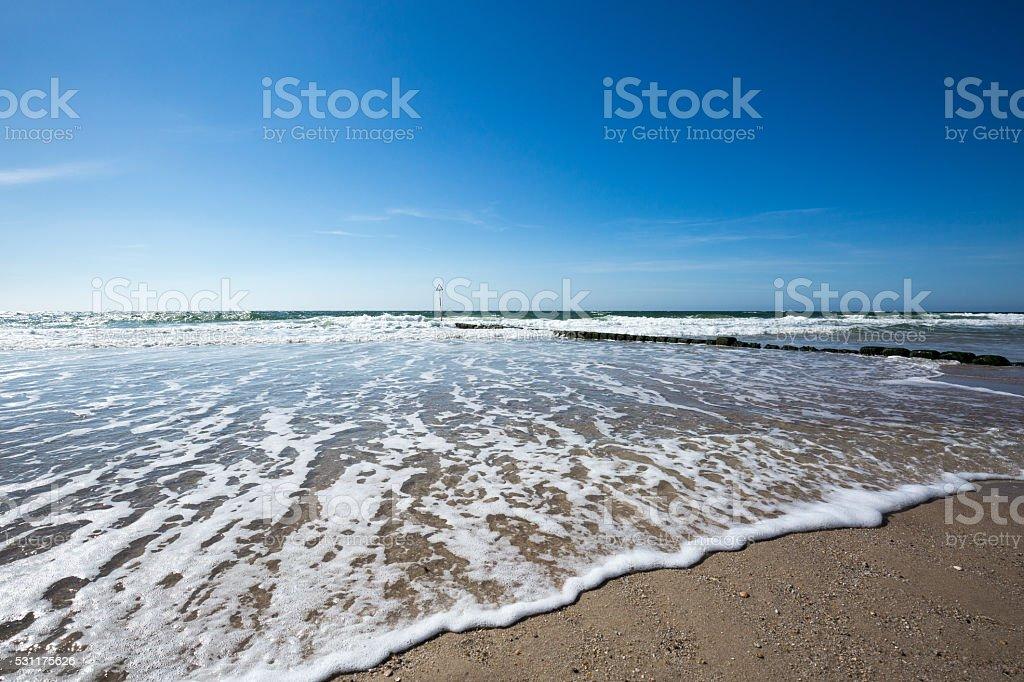 High Tide is flooding the Sylt Beach stock photo