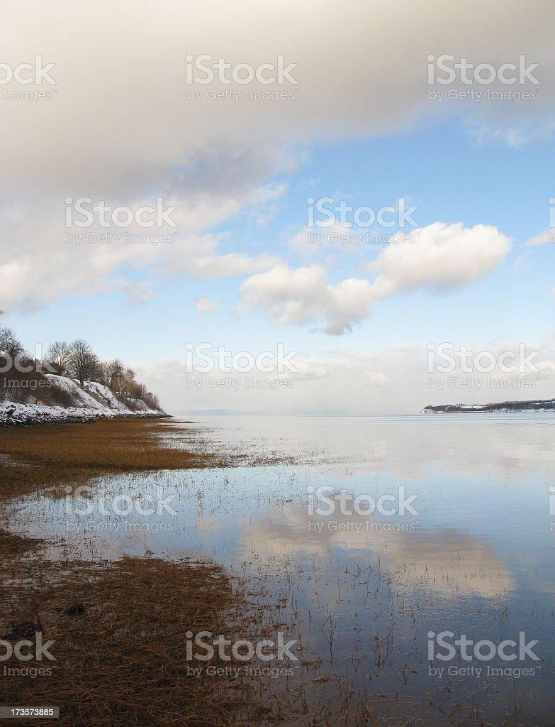 High tide on the Avon river, Nova Scotia. stock photo