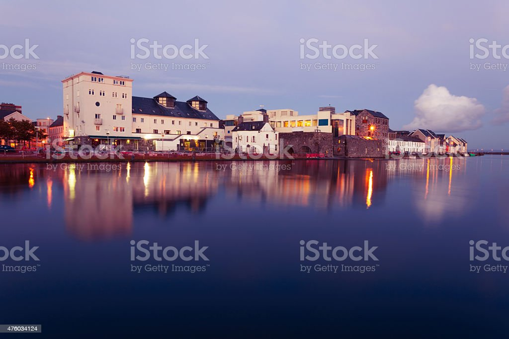 High tide on the river in Galway. stock photo