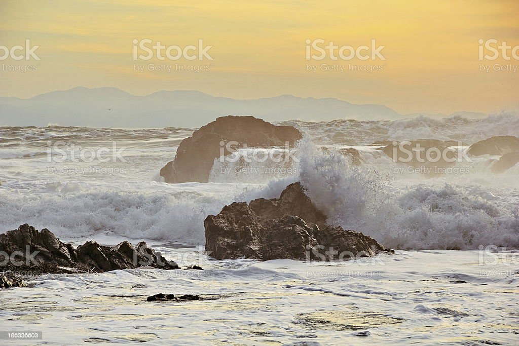 High Tide Sunset, Botanical Beach, Port Refrew, BC stock photo
