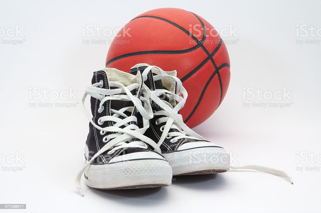 High Top Shoes and Basketball stock photo