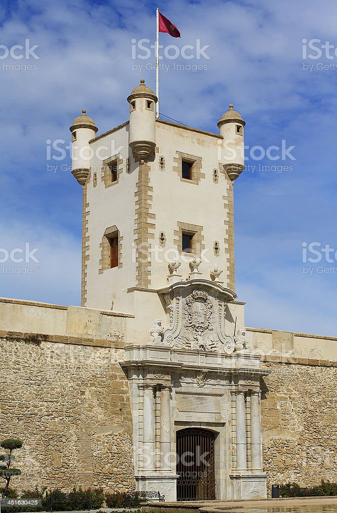 High tower at the entrance of old town in Cadiz stock photo
