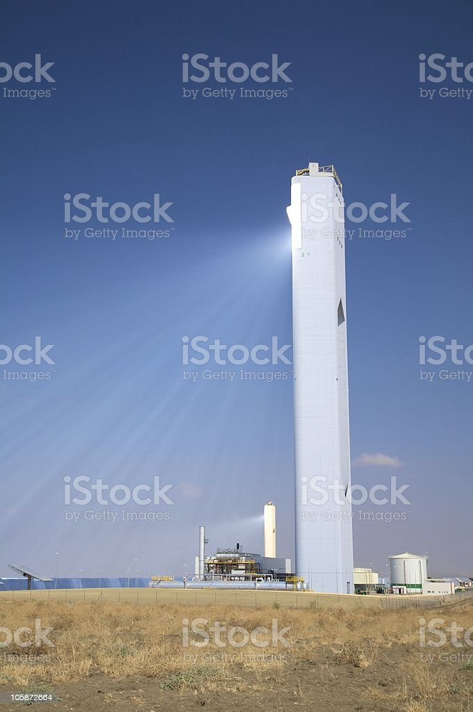high tower reflects solar beams royalty-free stock photo
