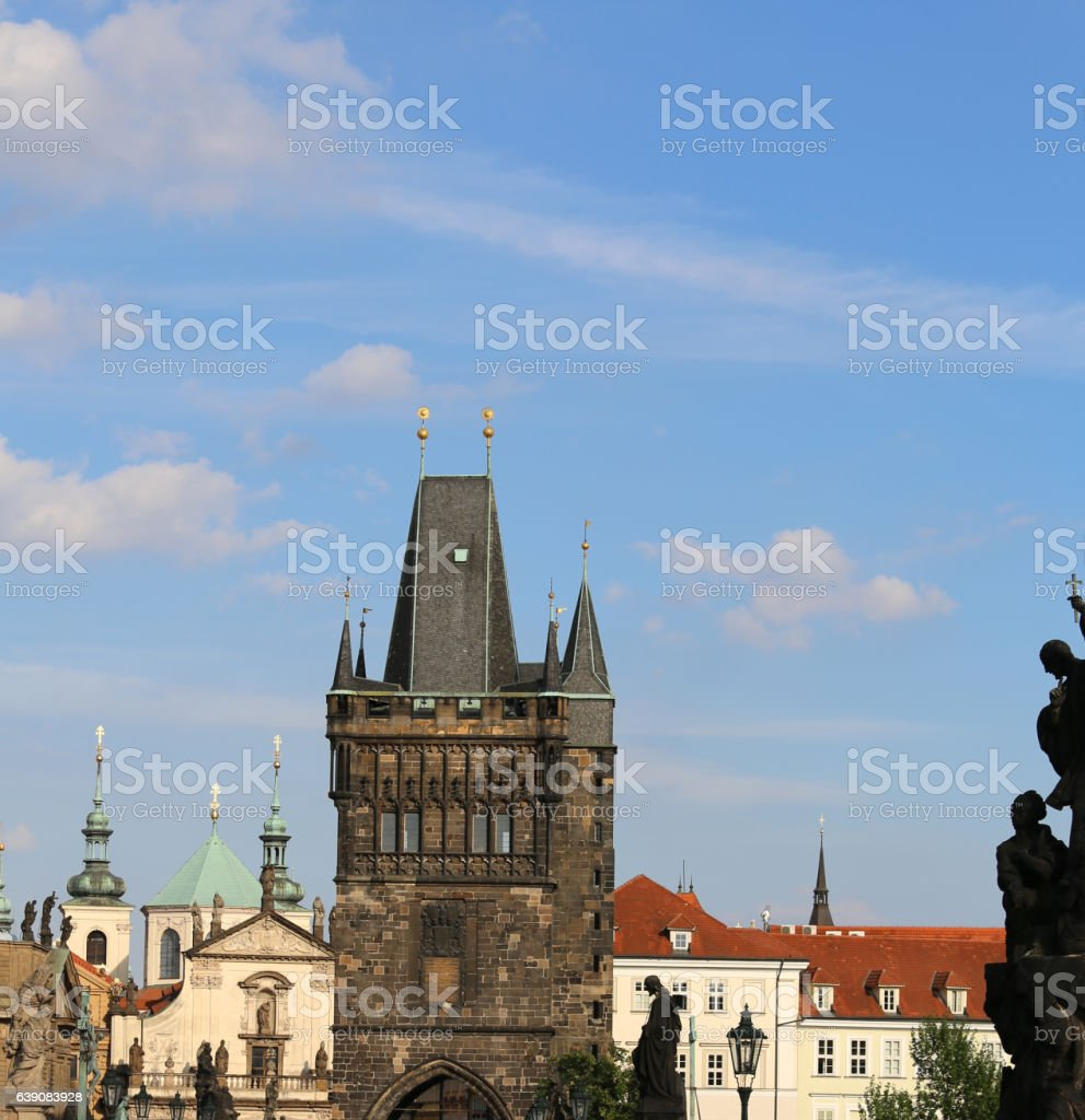 High tower with battlements of the Charles Bridge stock photo