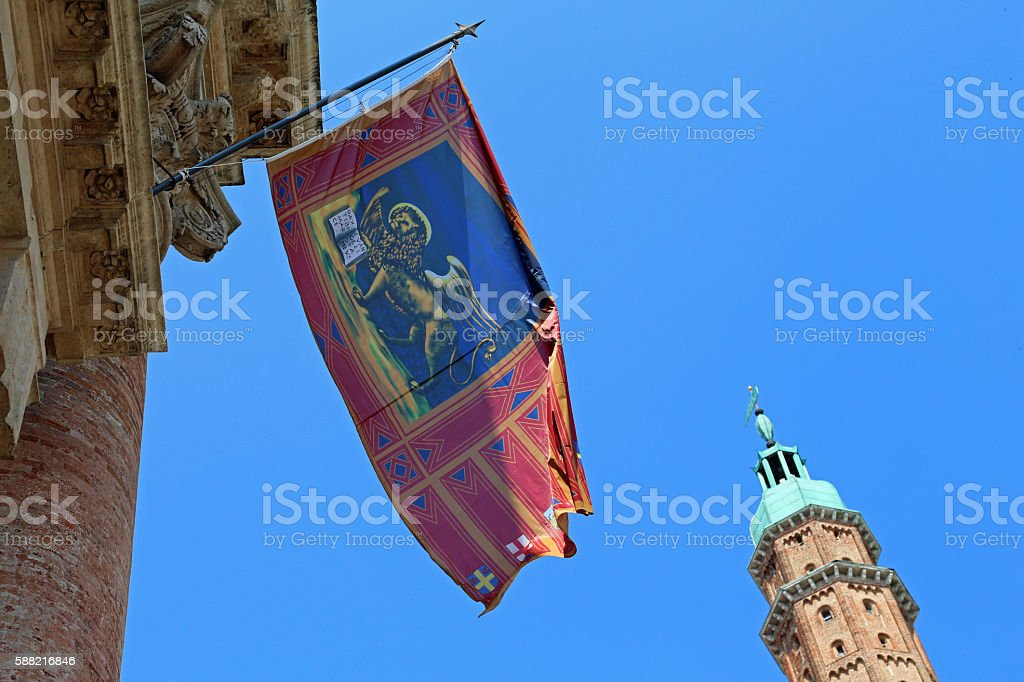 high tower with flag in Vicenza city Italy stock photo