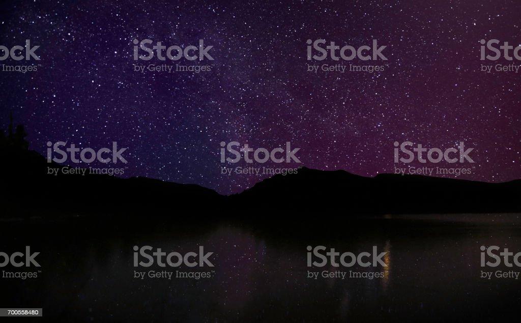 High Uintas Lake with at night stock photo