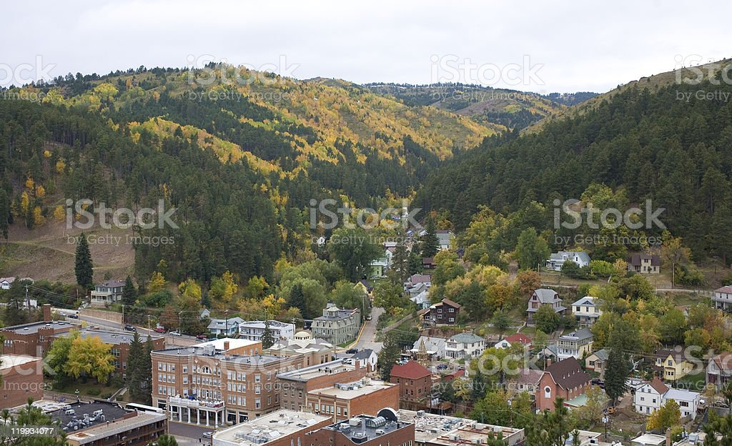 A high up view of a mountain village Deadwood stock photo