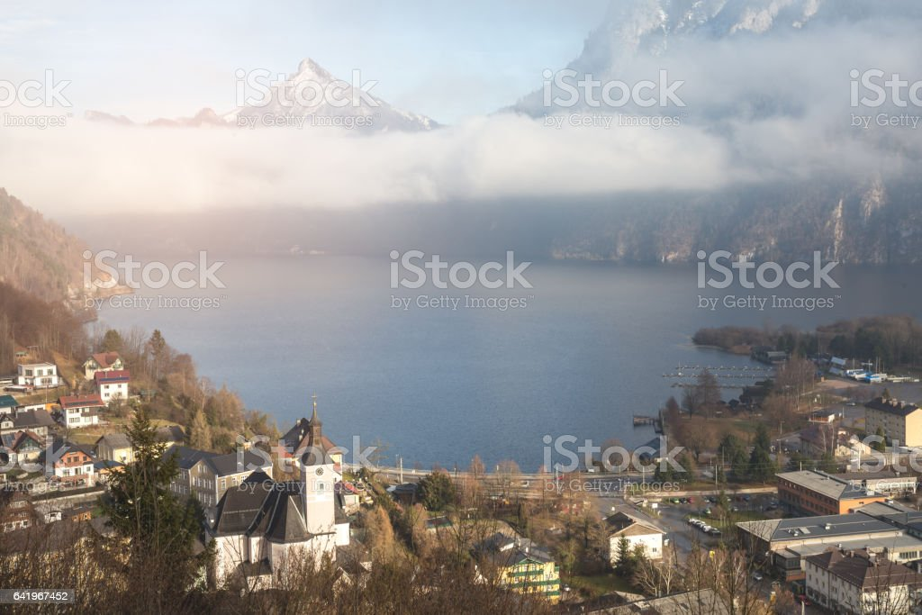 High up view of town and lake - Panorama stock photo