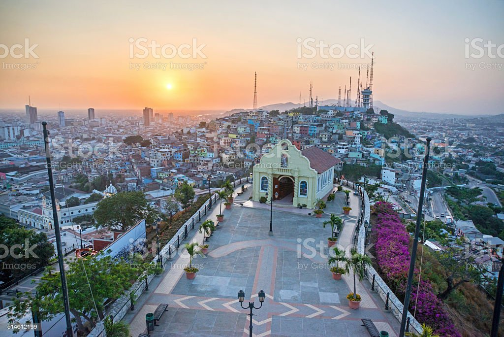 High view of a small chapel and the city of Guayaquil stock photo