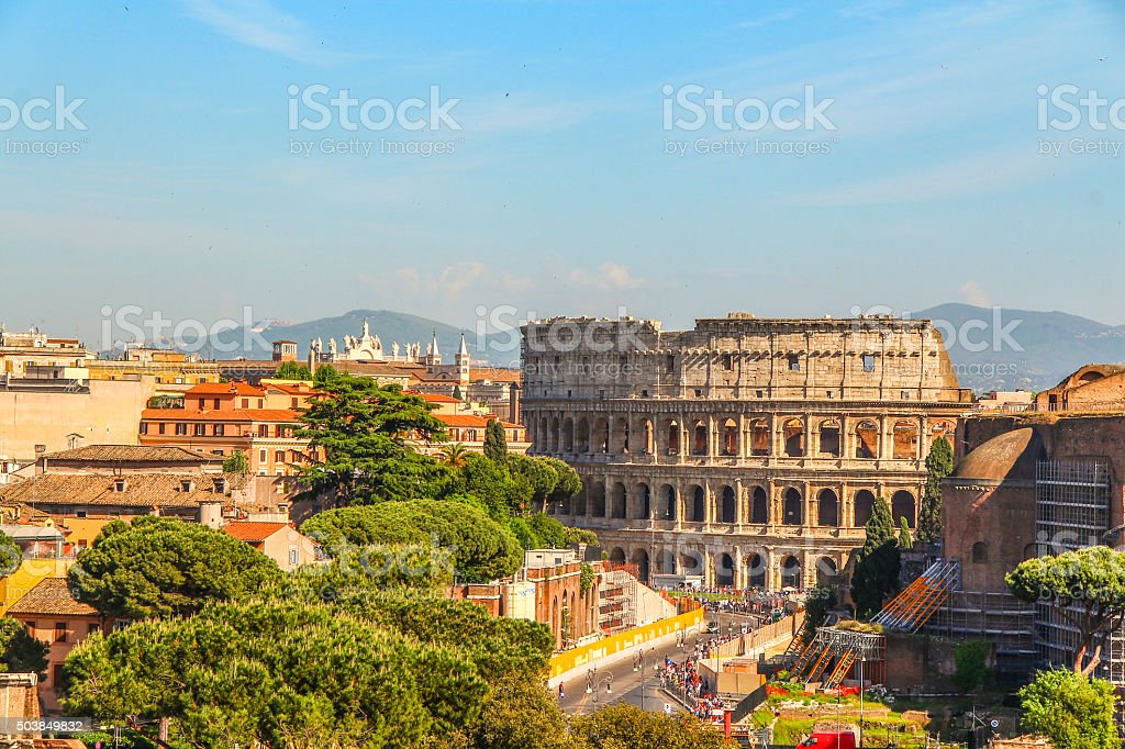 High view of Colosseum in distance, Rome stock photo
