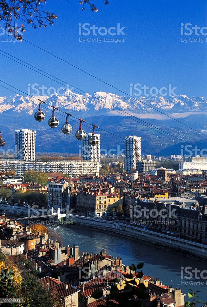 High view of Grenoble city and cable cars stock photo
