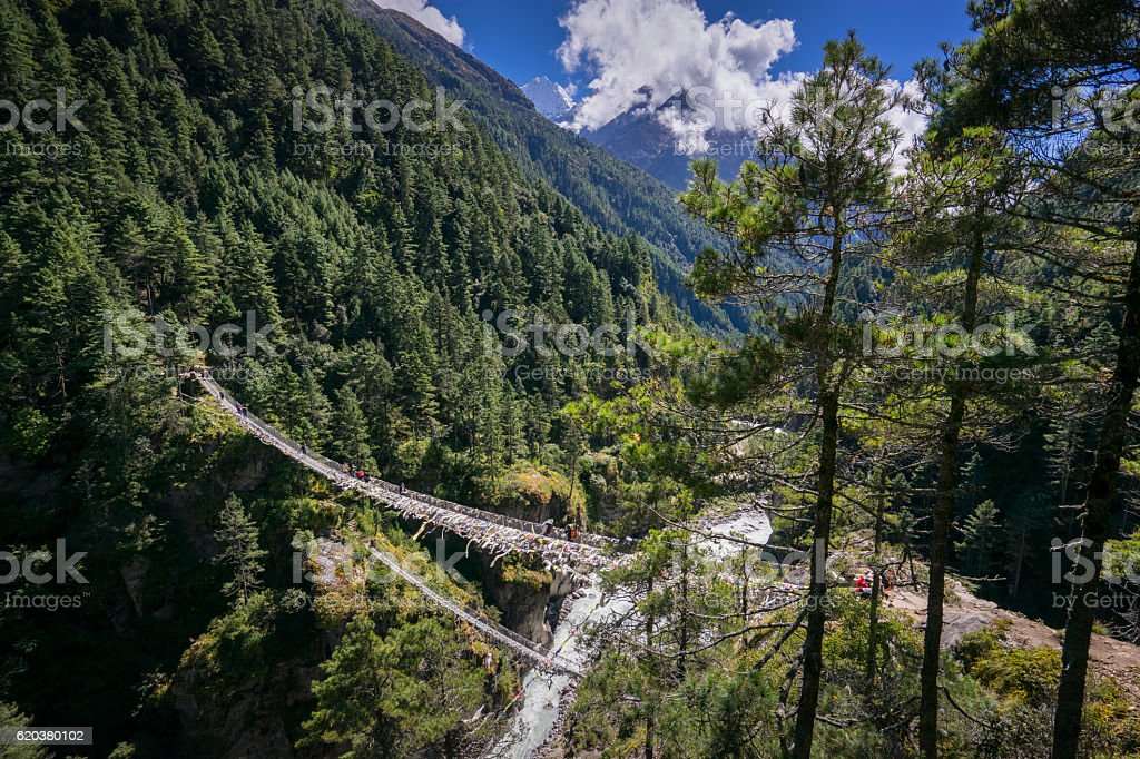 High view of of Hillary Suspension Bridges stock photo