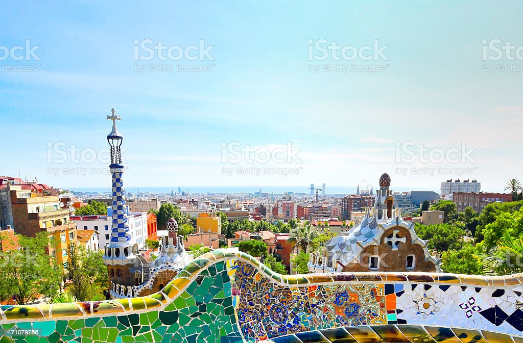 High view of Park Guell in Barcelona, Spain stock photo