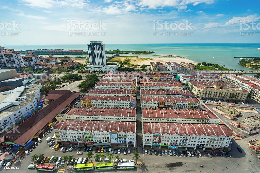 High view of the ancient Malaysian town in Malacca stock photo