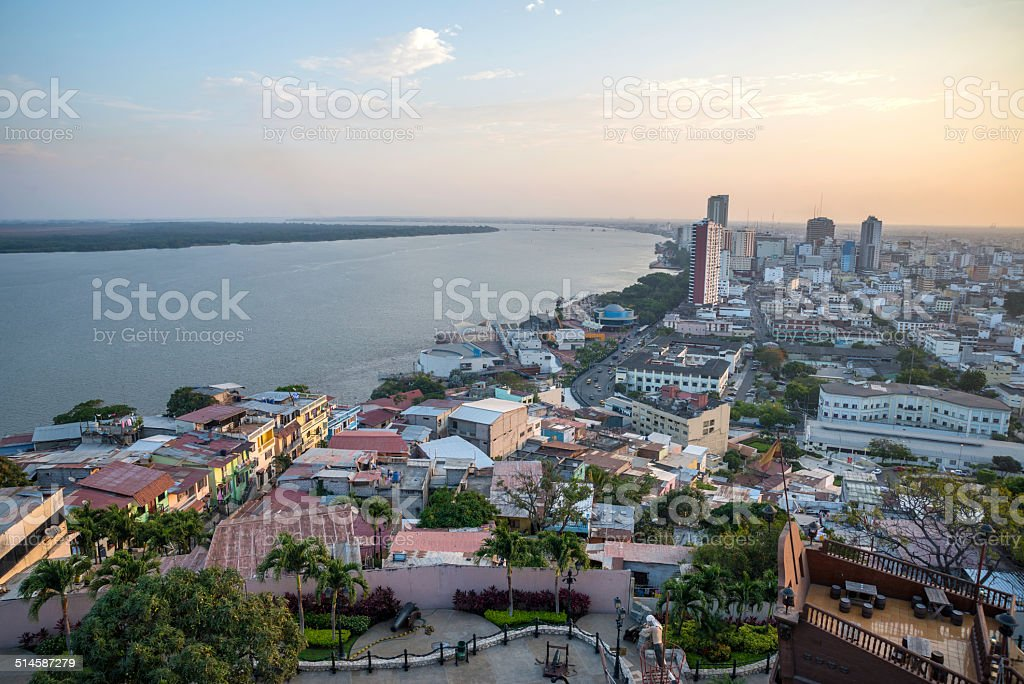 High view of the city of Guayaquil stock photo
